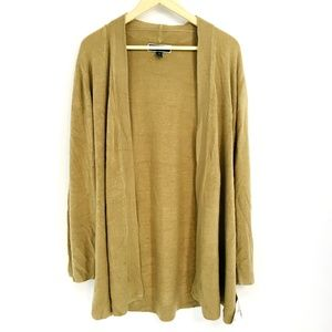 Karen Scott Chestnut Open Front Knit Cardigan